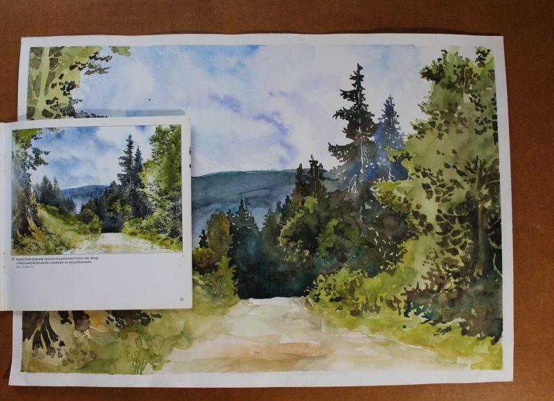 krajobraz gór akwarela