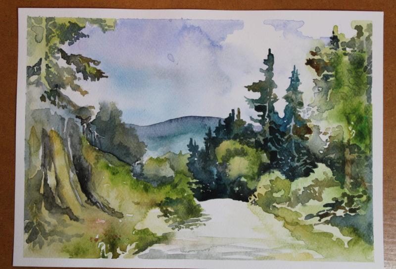 krajobraz malowany akwarelami