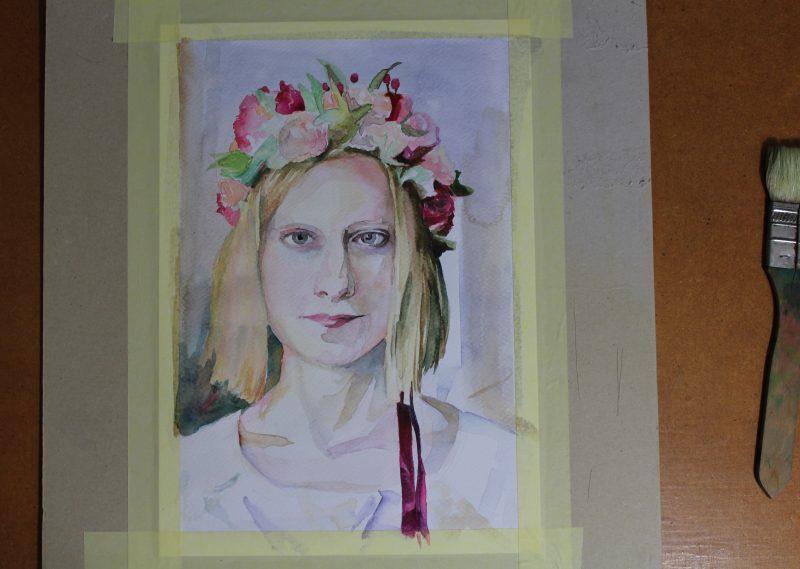 gotowy portret malowany farbami akwarelowymi