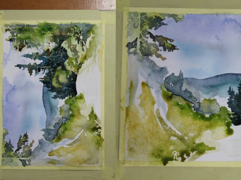 góry namalowane akwarelami
