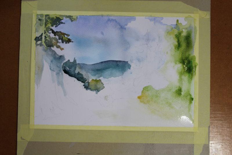 pejzaż malowany akwarelą