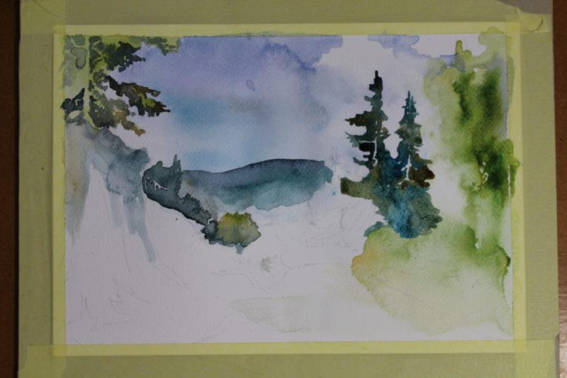 krajobraz przyrody malowany akwarelą