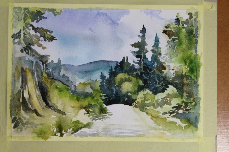 ścieżka górska akwarela
